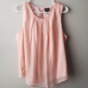 Worthington Shimmery Peach Sleeveless Blouse PXL